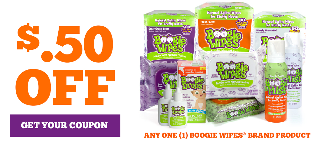 50 cents off any one boogie wipes brand product. Get your coupon!